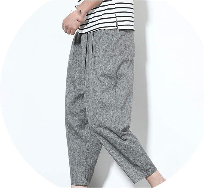 M-5XL Mens Cotton Linen Chinese Retro Harem Pants Casual Loose Trousers 2019