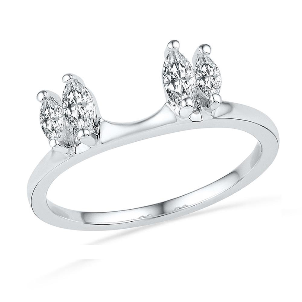 Jewels By Lux 14kt White Gold Womens Oval Diamond Ring Guard Wrap Solitaire Enhancer 1/2 Cttw Ring Size 8