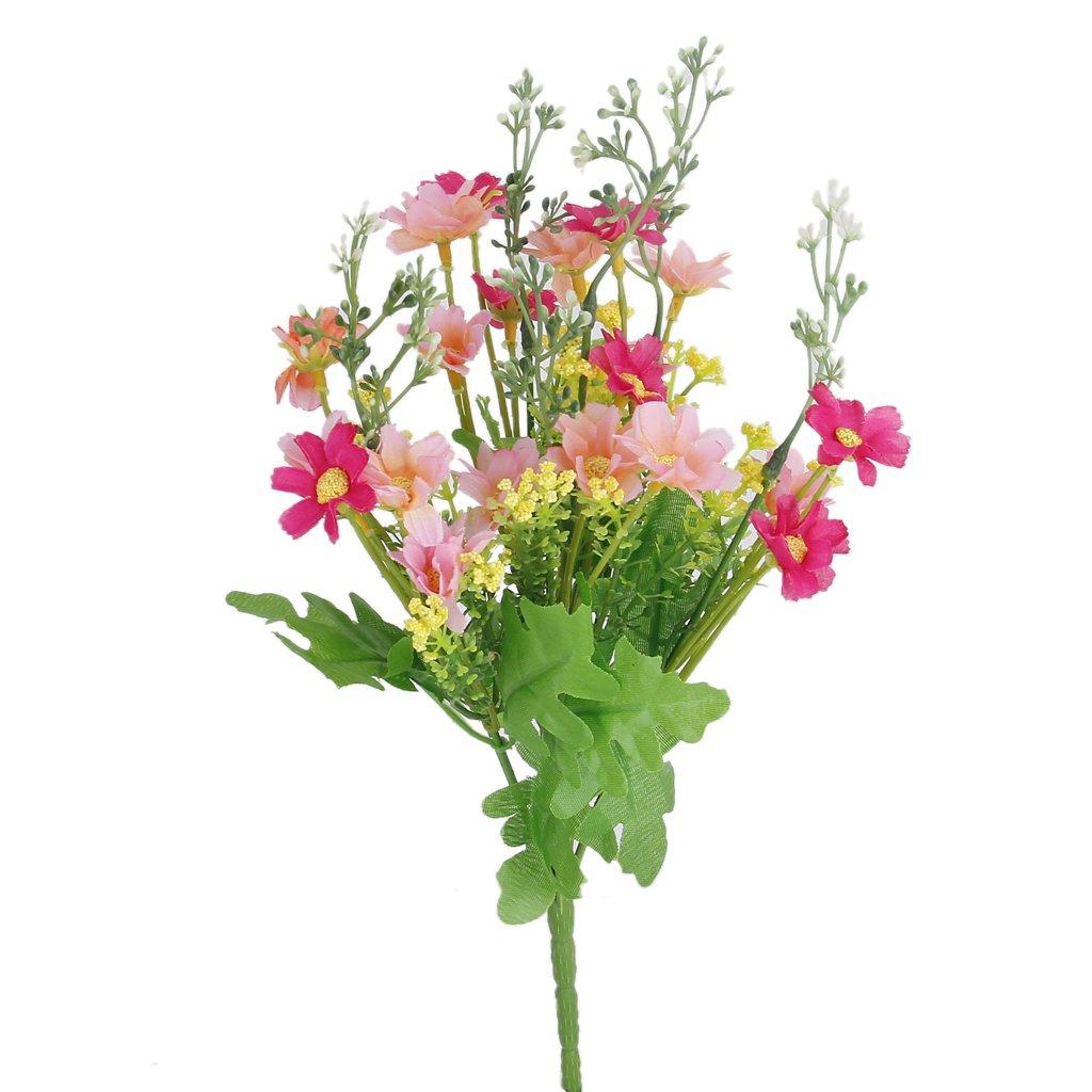 1 Bouquet de Cinéraire Faux Bouquet de Fleurs Artificielles pour Décor de Maison / Bureau - Rose Rouge et Rose
