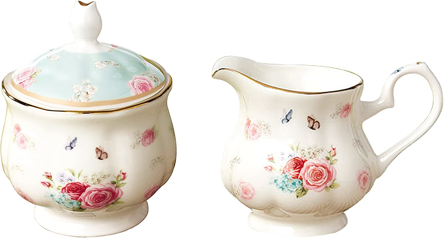 AWHOME Sugar and Creamer Set for Coffee and Tea Red Floral Painted Classic Porcelain