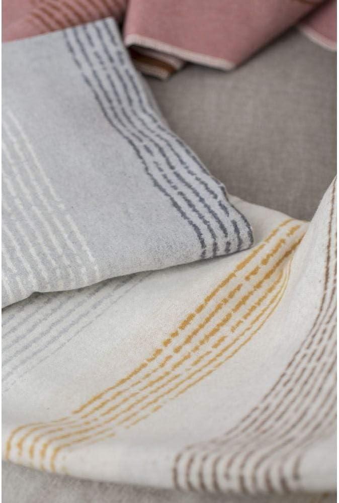 140 x 200 cm Coperta in Flanella Motivo a Righe Colore: Bianco Grezzo David Fussenegger Silvretta