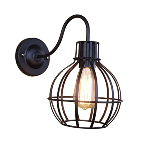 Forja Metal Retro jaula pared pájaro jaula lámparas colgante luz ...