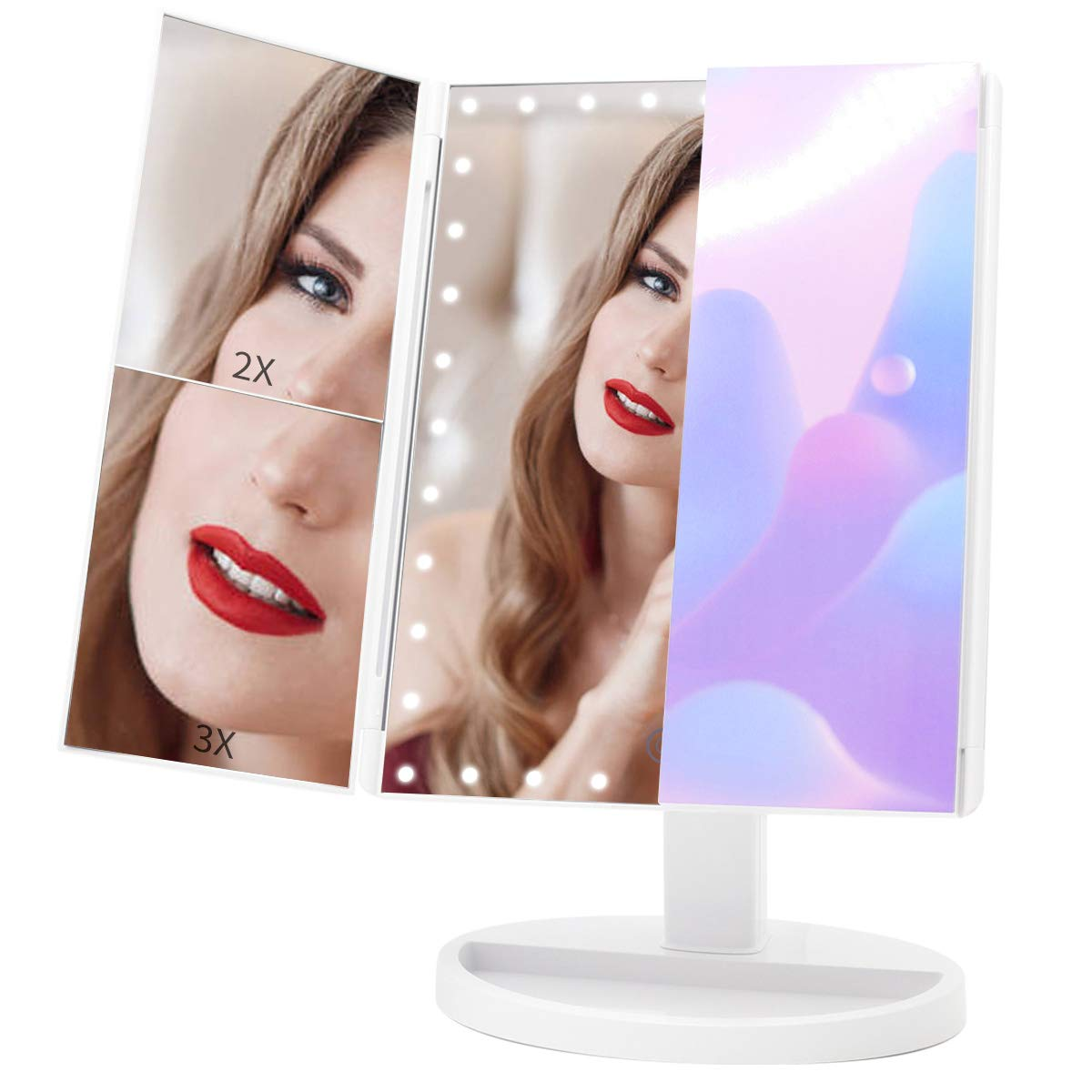 Large Makeup Vanity Mirror with Lights, COSMIRROR Trifold Lighted Makeup Mirror with 35 LED and Touch Screen Dimming, 2X 3X Magnification, 360 Rotation, High Definition Cosmetic Lighted Up Mirror
