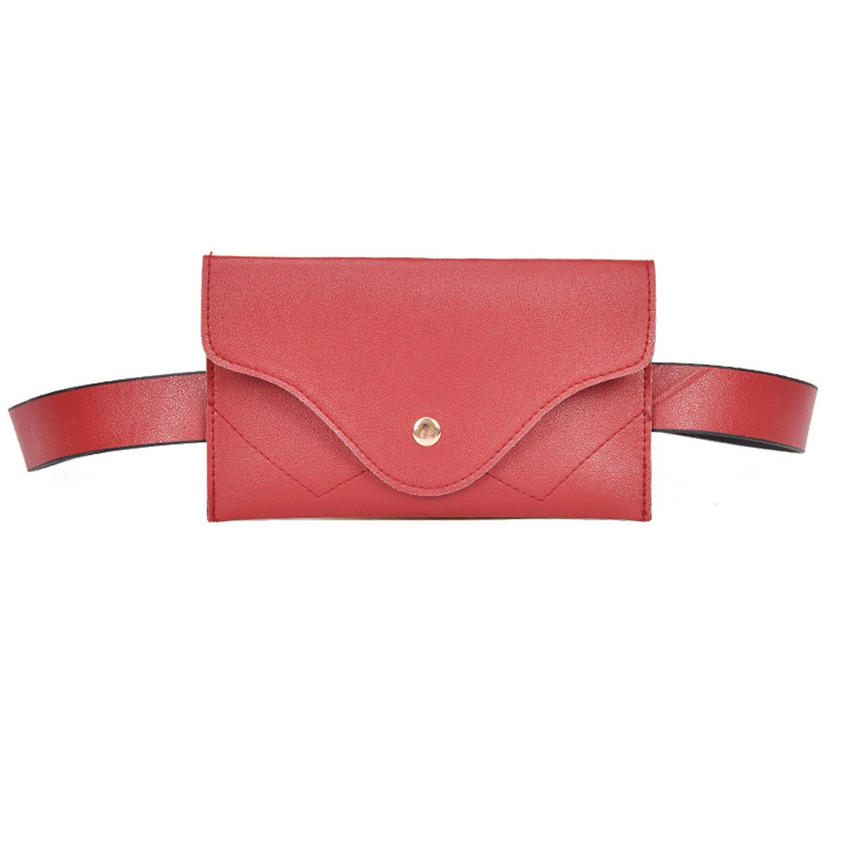 ECYC Women Fashion Waist Bag Simple Envelope Soft PU Leather Fanny Pack, Winered