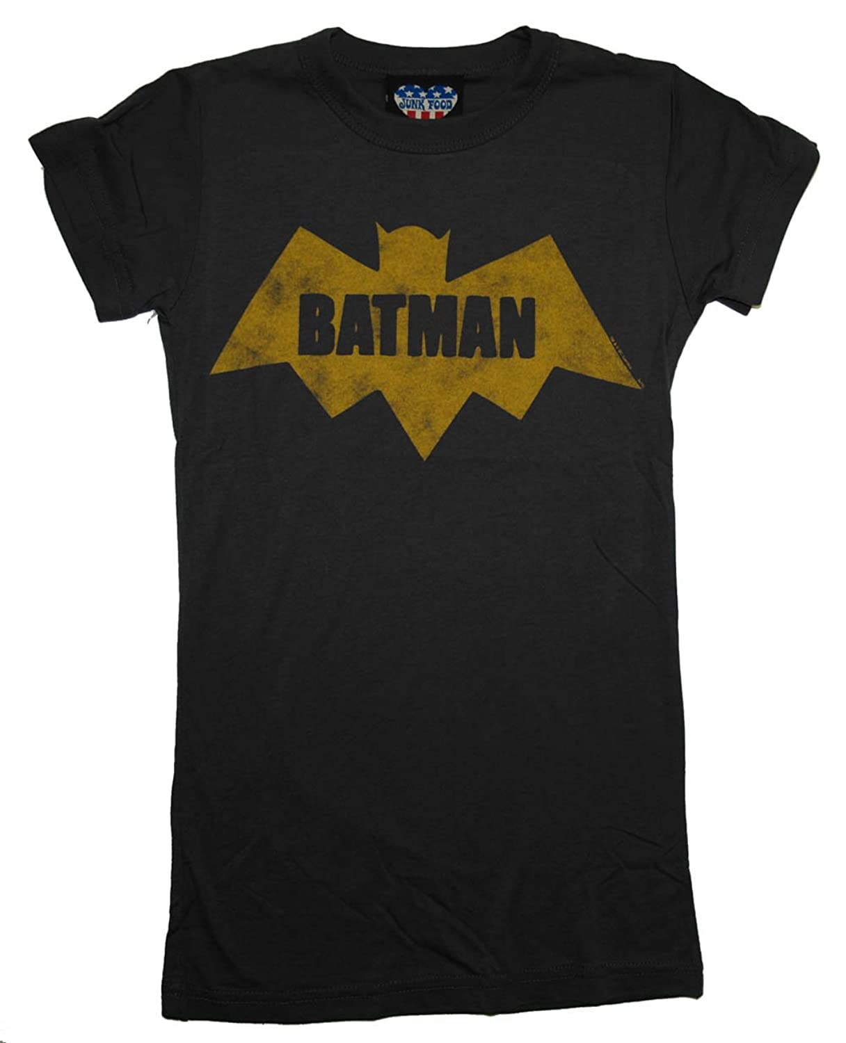 Batman Old School Logo DC Comics Junk Food Vintage Style Soft Jrs Babydoll Tee
