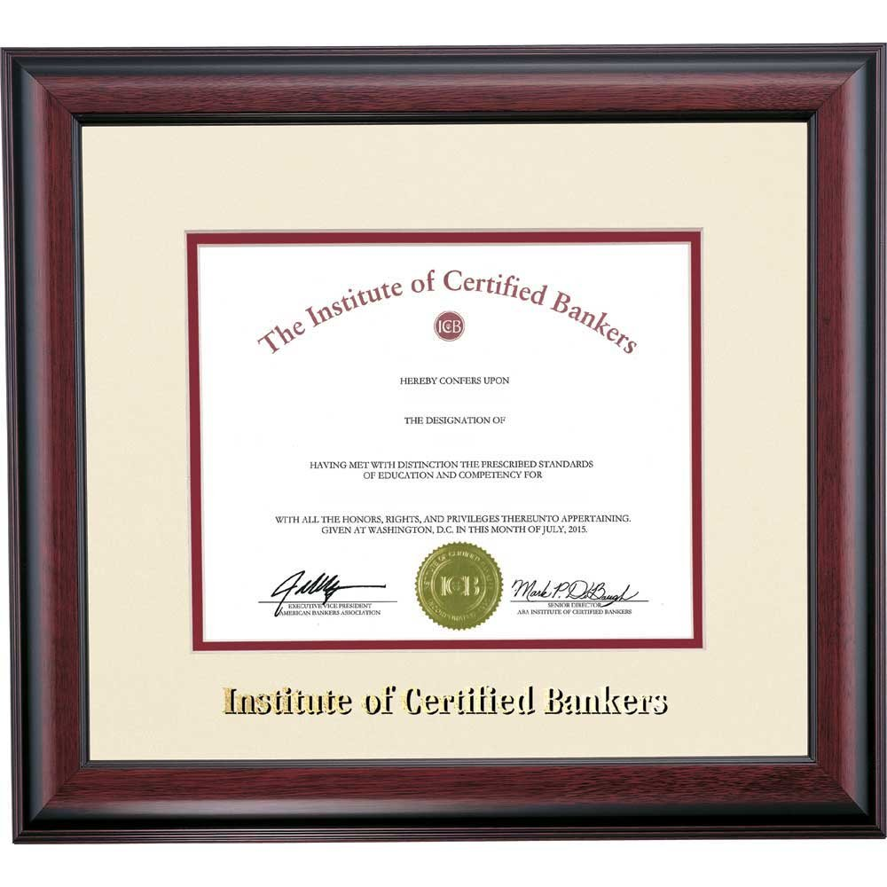 Campus Linens American Bankers Association Certificate Frame Ivory Maroon Matting Embossed