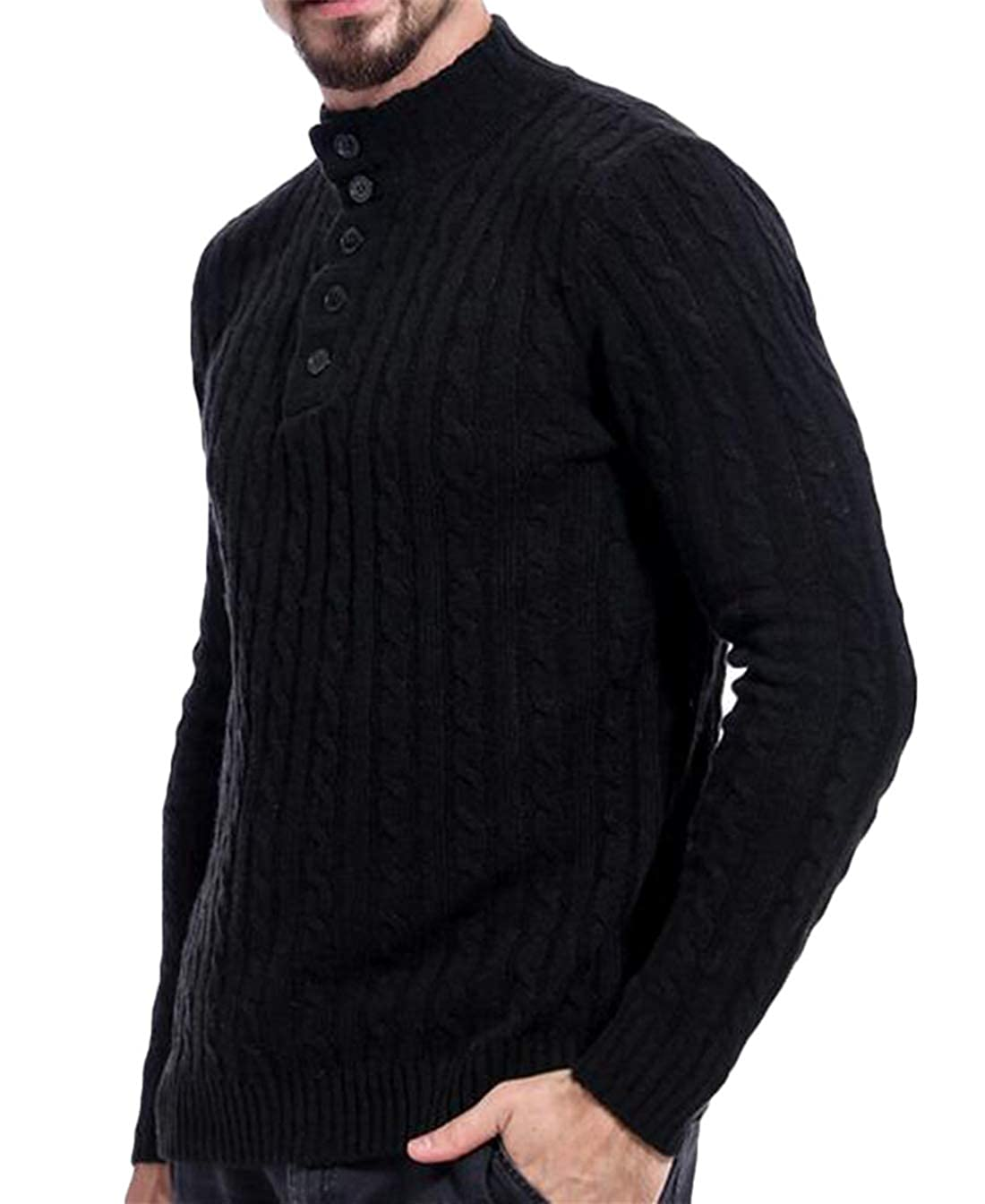 YYear Men Casual Pullover Cable Twist Slim Turtleneck Buttons Long Sleeve Sweater