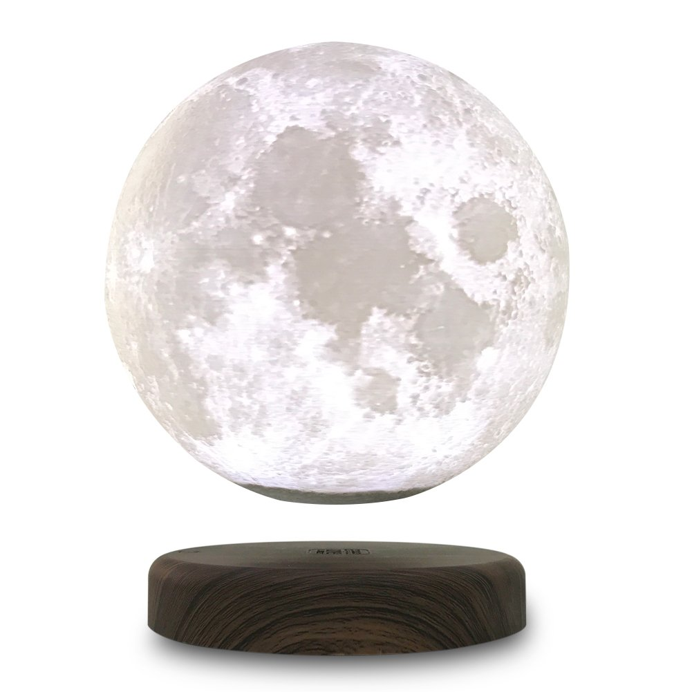 STSEETOP 3D Printing Maglev Magnetic Levituna Moon Zeegine LED Night light Wriless Power Smart Switch Touch 360 Rotation Floating Light Lamp Decorative Light with Wooden Holder for Wedding Children by Seetop