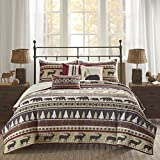 Madison Park Missoula King/Cal King Size Quilt Bedding Set - Red, Stripe – 6 Piece Bedding Quilt Coverlets – 100% Cotton Bed Quilts Quilted Coverlet