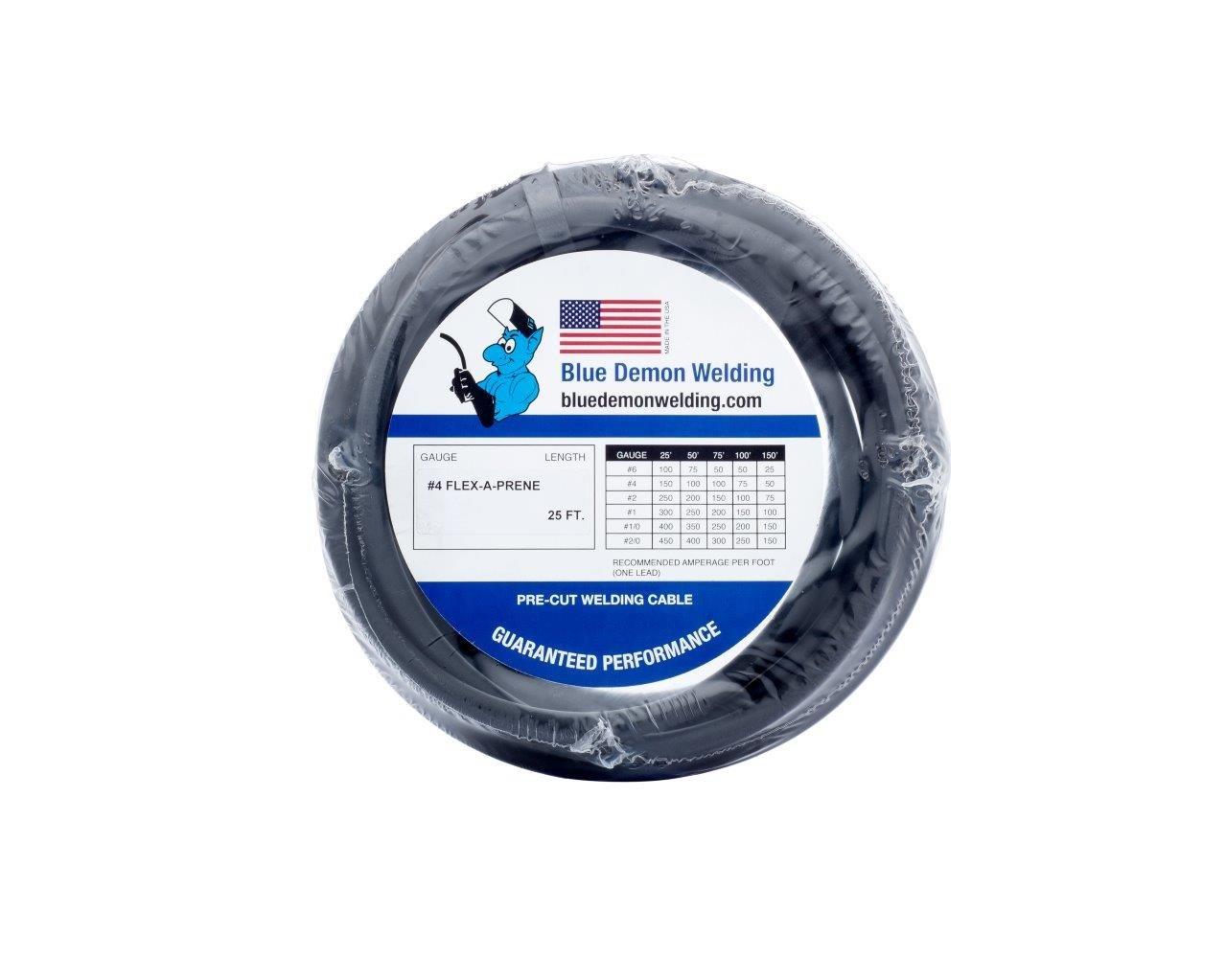 Blue Demon #4 Guage Flexaprene welding cable, black, 25', shrink wrapped