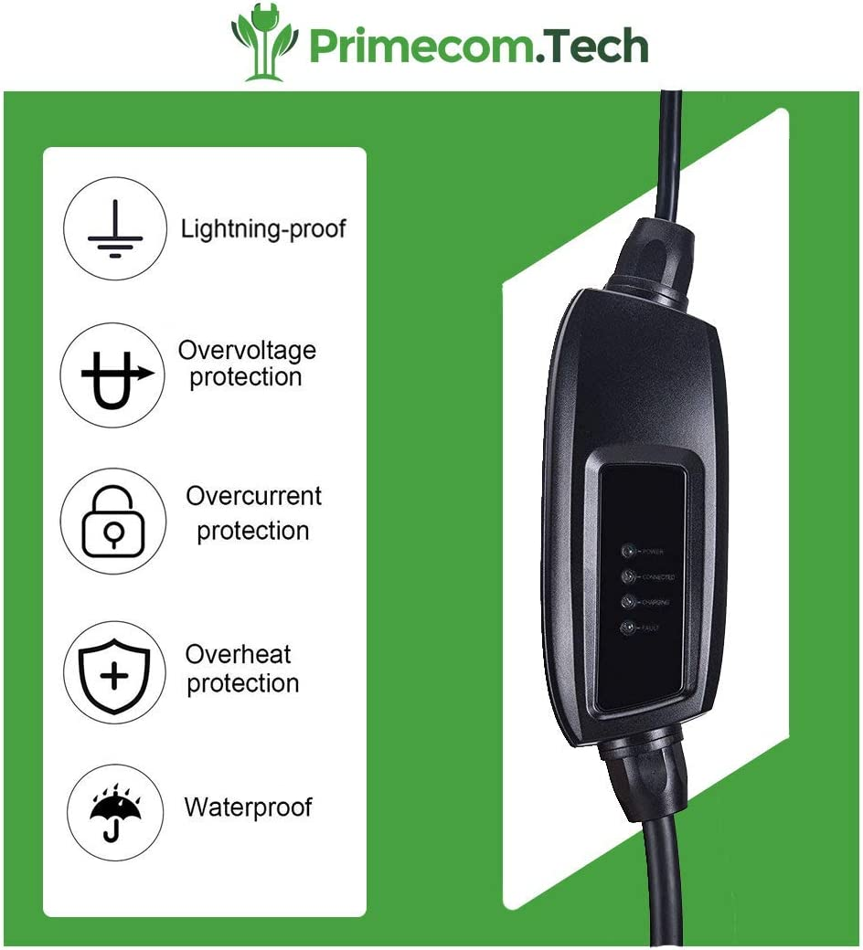 PRIMECOM Type 2 IEC 62196-2 Euro 16 Amp Level-2 Electric Vehicle Charger 220 Volt 10/&15 Meter European Schuko, 15 Meter