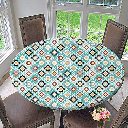 Mikihome The Round Table Cloth Vintage Ottoman Floral Design with Old Fashion Heraldic Tiles Artistic Image Aqua for Birthday Party, Graduation Party 63