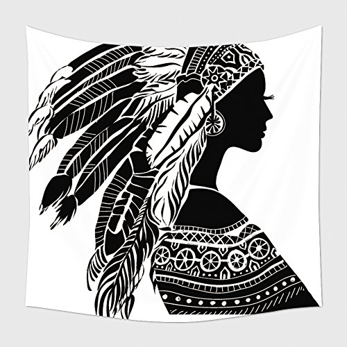 [Home Decor Tapestry Wall Hanging Young Woman In Costume Of American Indian Silhouette Of Beautiful Indian Women 215508190 for Bedroom Living Room Dorm] (Wolf Goddess Costume)