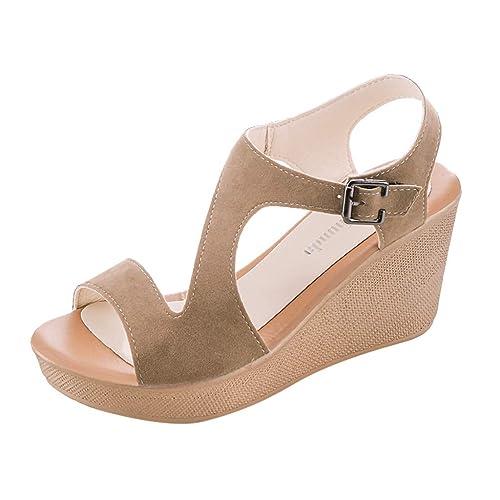 af3b97ba998c7 Sandalias Mujer Verano 2019 Plataforma CuñA CinturóN Inferior Grueso Zapatos  De Hebilla Boca De Pescado Sandalias  Amazon.es  Zapatos y complementos