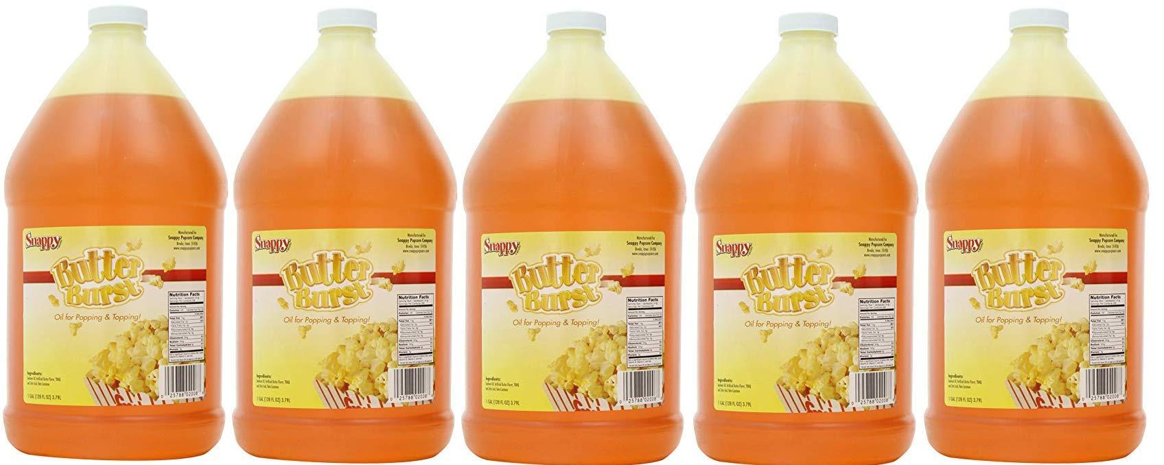 Snappy Popcorn Butter Burst Oil, 1 gallon(128 fl oz) (5(Pack))