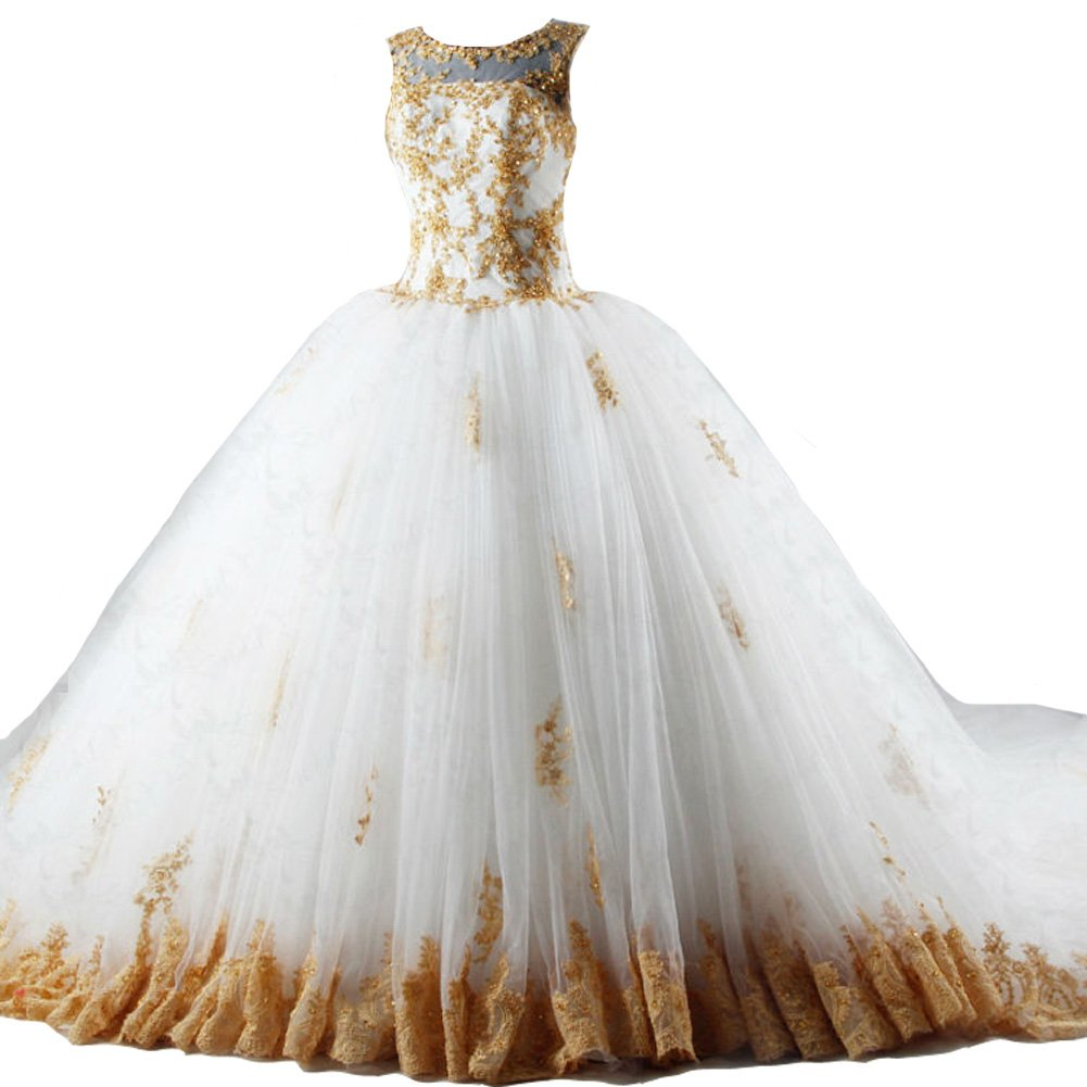Kivary Gold Lace Beaded Long Ball Gown Chapel Train Tulle Bridal