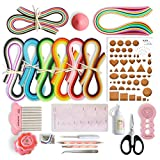 JUYA Paper Quilling Kits with 960 Strips and 13 Tools (Pink Tools, Width 3mm Have Glue)