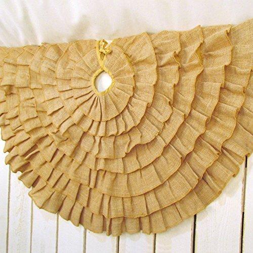 48 inch Round Ruffled Burlap Christmas Tree Skirt by Jubi...