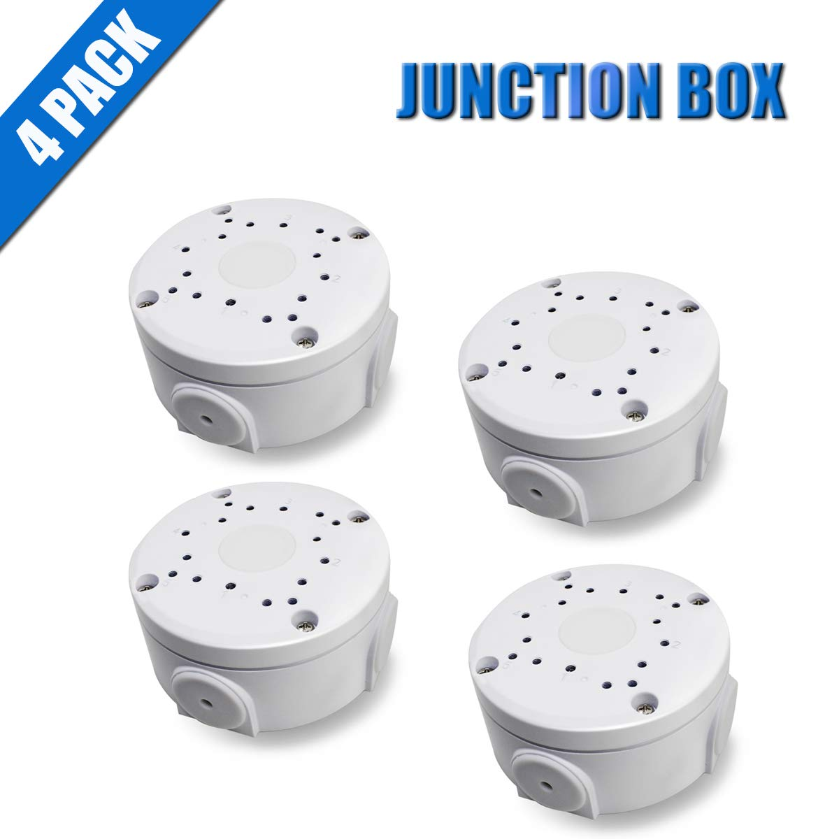 Aluminum Bracket Junction Back Box Onduit Base for OHWOAI Bullet Cameras, Water-Proof Junction Box for IP Camera (4 Pack) Electric Enclosure for Indoor/Outdoor Use with Screws Cable DIY Case Encl by OHWOAI