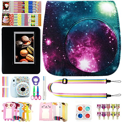 Elvam 12 in 1 Camera Accessory Bundles Set for Fujifilm Instax Mini 8 – Great Galaxy (Mini 8 Case/Camera Strap/Album/Film Frames/Stickers/Border Stickers/Lens/Filter/Owl Clip/Pens/Scissors)