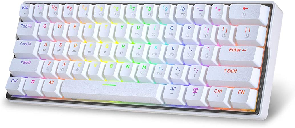Teclado mecánico blanco para juegos de 61 teclas color blanco interruptor marrón