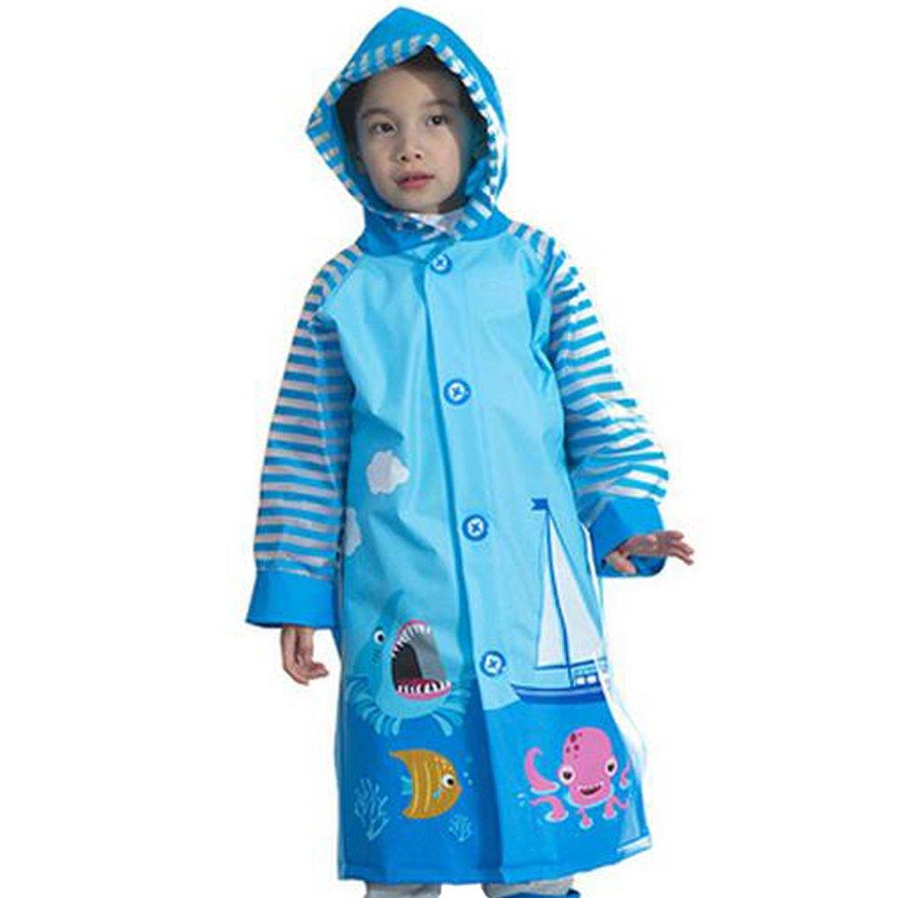 KINDOYO Children's Waterproof Raincoat Jacket with Hooded and Sleeves