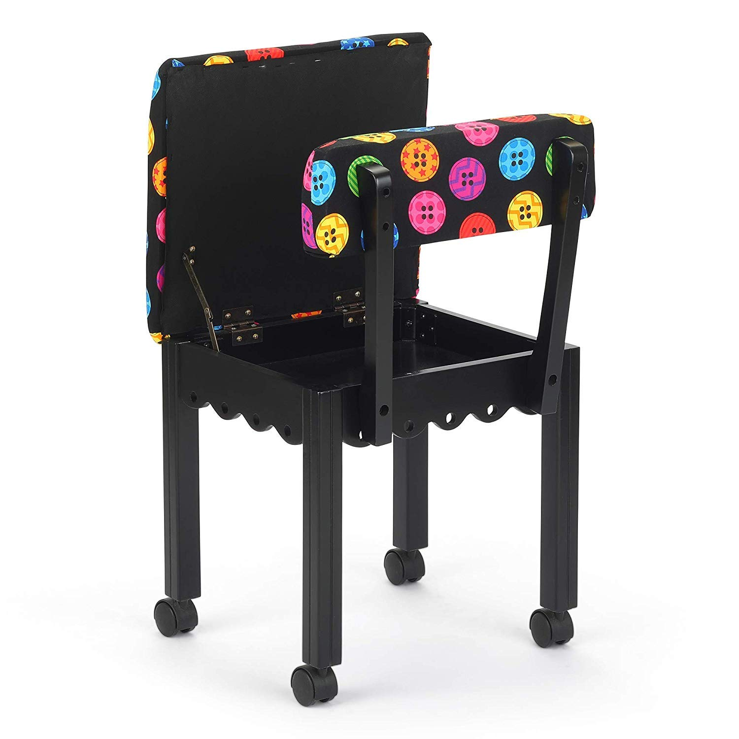 Arrow Sewing Chair in Black with Button Fabric by Arrow (Image #2)
