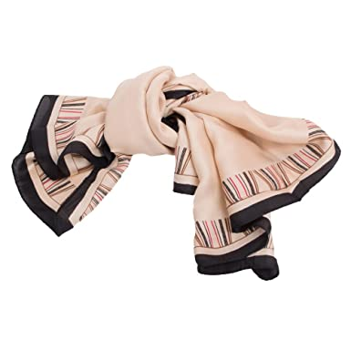 Foulard Carré Soie beige à rayures fines rouge   noir-Taille unique ... 1dffc313650