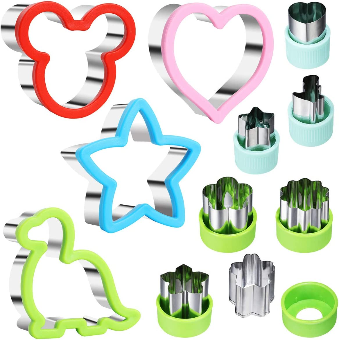 Sandwich Cutter Set, Including 4 Sandwich Cutters Shaped Like Mickey, Dinosaur, Star and Heart and 7 Vegetable Cutters, Suitable For Children