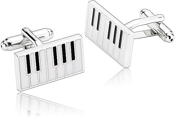 AueDsa Gemelos de Acero Inoxidable para Hombres Negro Blanco Gemelos de Camisa Teclado de Piano: Amazon.es: Joyería