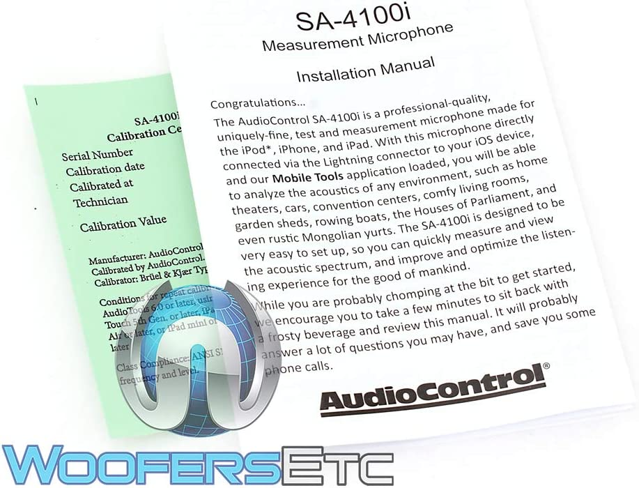 AudioControl SA-4100i Omni-directional Audio Test and Measurement Microphone for Apple iOS Devices