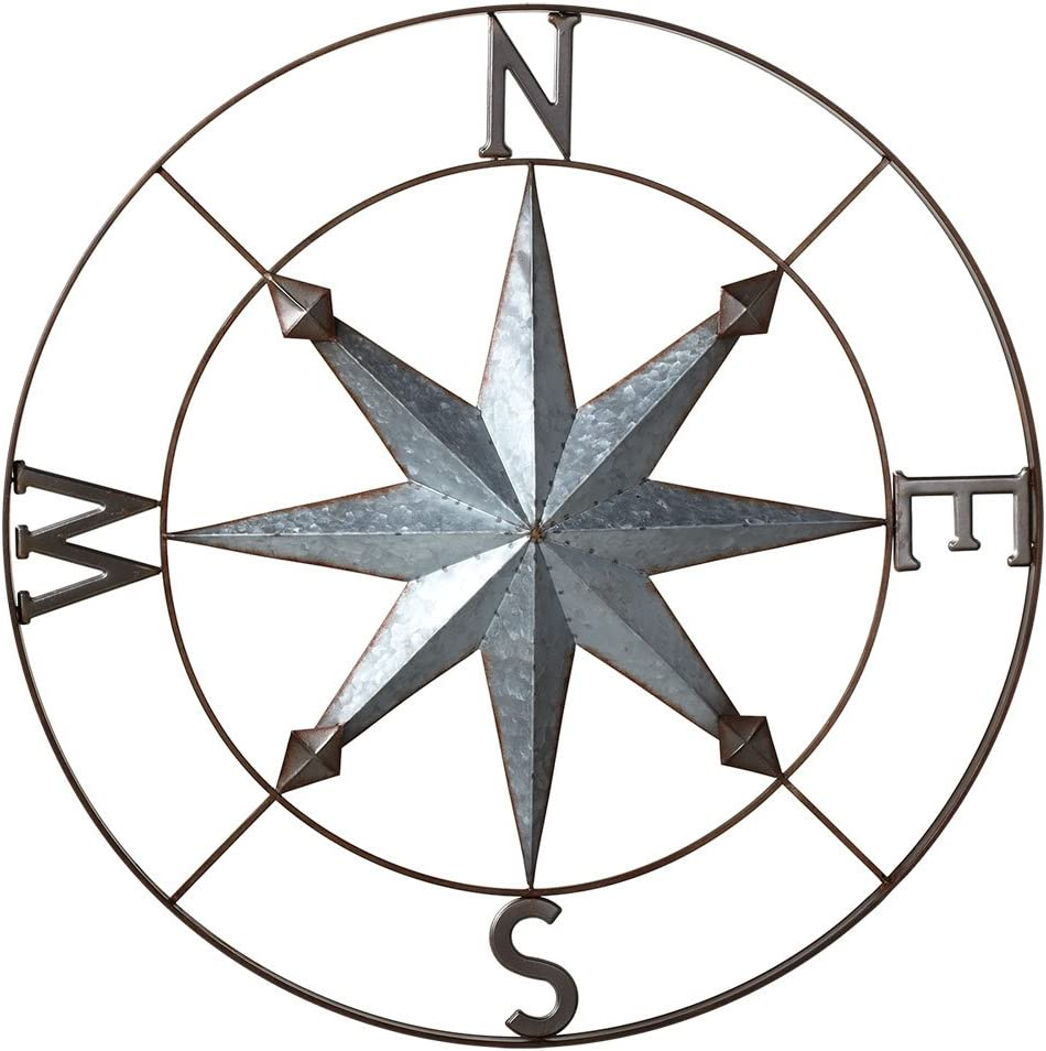 Midwest-CBK Galvanized Metal Wall Art Rose Compass - 30-in