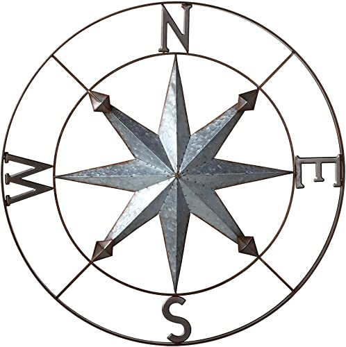 Midwest-CBK Galvanized Metal Wall Art Rose Compass – 30-in