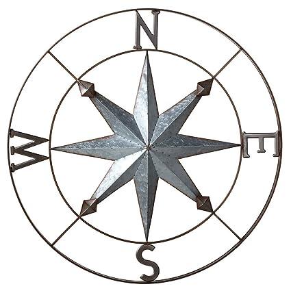 Unique Amazon.com: Galvanized Metal Wall Art Rose Compass - 30-in: Home  DI35