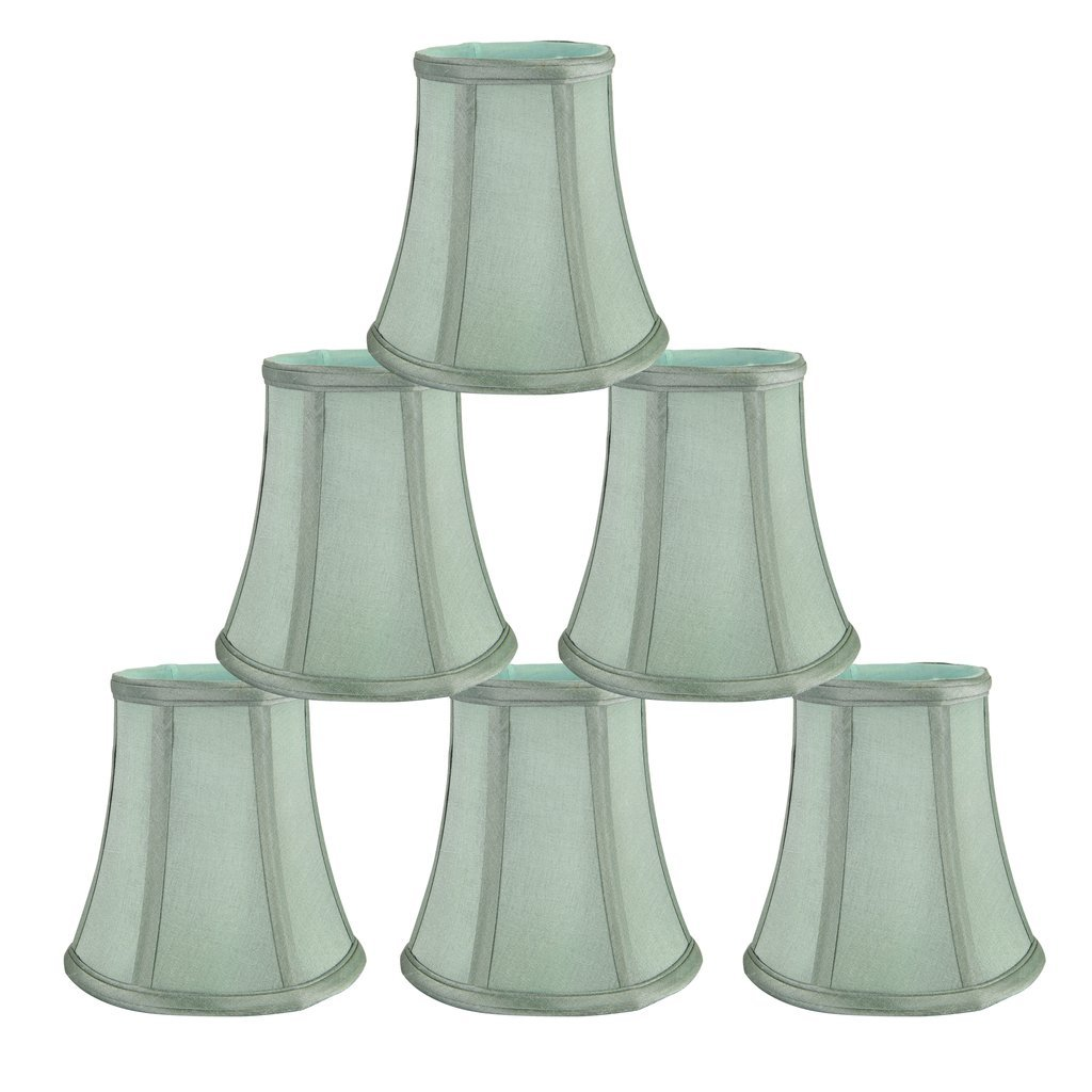 ONEPRE Blue Silk Clip On Candle Lampshade Decorative Trim Bell Chandelier Lamp Shades Craft Small , Set of 6