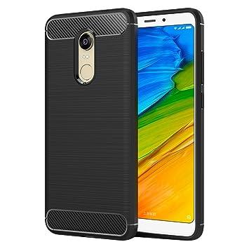 MaiJin Funda para Xiaomi Redmi 5 Plus (5,99 Pulgadas) TPU Silicona Carcasa Fundas Protectora con Shock Absorción y Diseño de Fibra de Carbon (Negro)