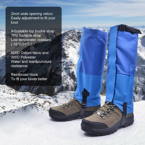 Leanking Leg Gaiters, Waterproof Snow Boot Gaiters 600D Anti-Tear Oxford Fabric Outdoor Waterproof Snow Leg Gaiters for Outdoor Hiking Walking Hunting Climbing Mountain (Blue, M) by Leanking (Image #2)