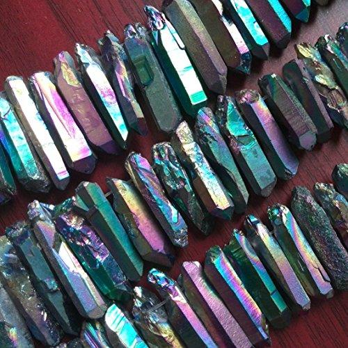 Rainbow Rough Titanium Crystal Points, Quartz Sticks, Spikes, Rainbow Metalic Quartz Beads, Crystal Daggers, Quartz Spike Beads 15 inches Strand