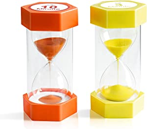 Sand Timer,XINBAOHONG Hourglass Sand Timer 3 Minutes 10 Minutes Timer Clock for Kids Games Classroom Home Office Kitchen Use (Pack of 2) (6.3''X 3.2'', 3 Min(Yellow) and 10 Min(Orange))