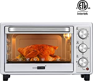 VIVOHOME Stainless Steel 16L 6 Slice Convection Countertop Toaster Oven Broiler with Pan Tray for Office Dorm Room and RV Camper Silver