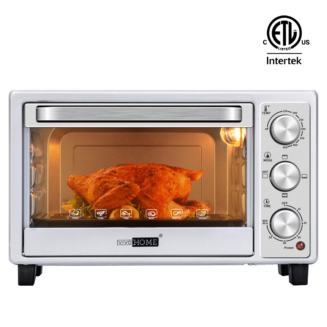 VIVOHOME Stainless Steel 16L 6 Slice Convection Countertop Toaster Oven Broiler with Pan Tray for Office Dorm Room and RV Camper Silver by VIVOHOME