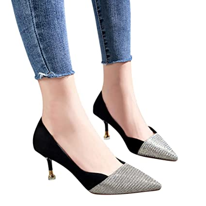 d80289b1bbe6 YJYdada Women Shoes Women s Pointed Toe Wild High Heel Single Shoes Fashion  Sequins Stiletto Shoes (