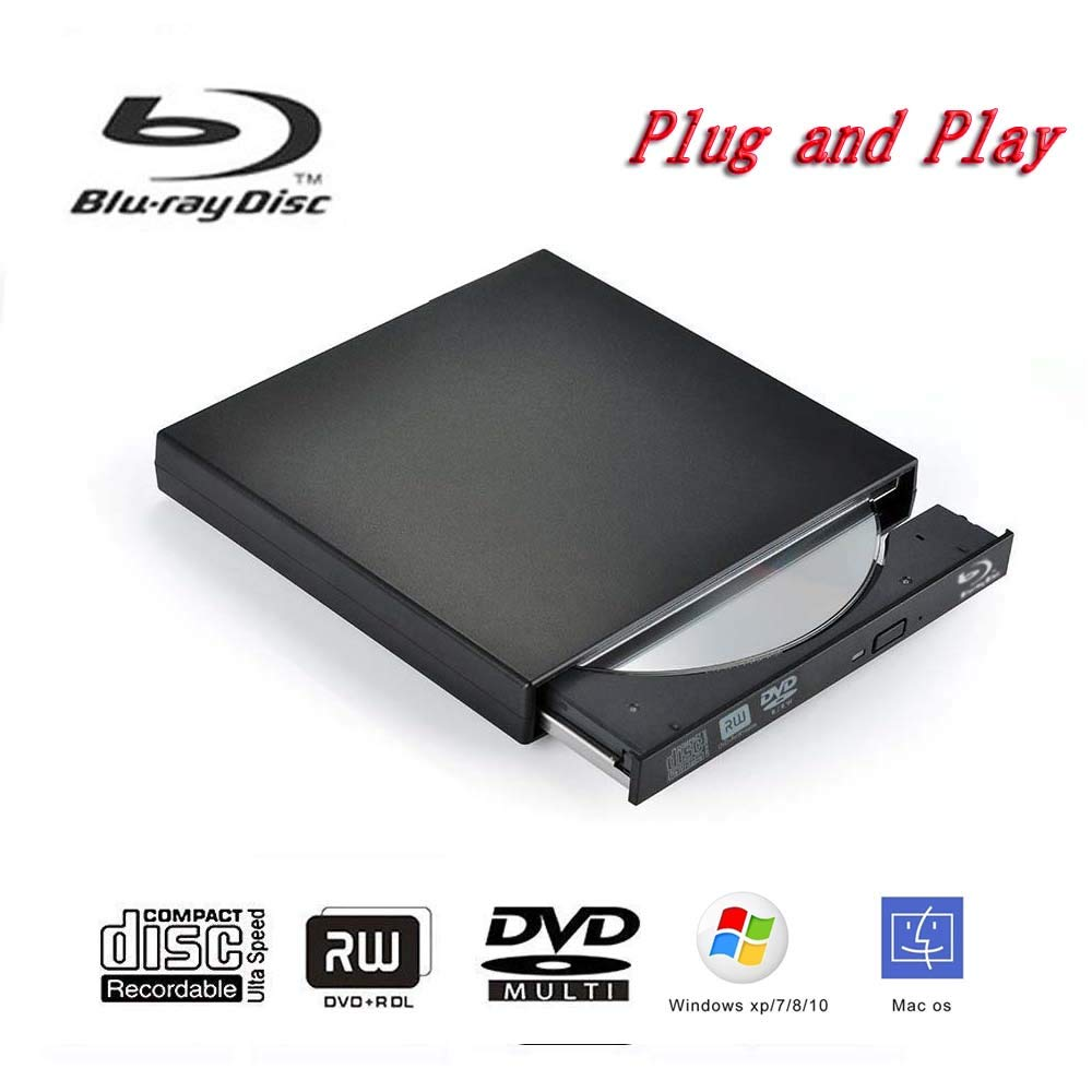 Blu ray dvd Drive,Ploveyy USB 2.0 Ultra Slim BD ROM DVD-RW CD-RW Drive Writer in Black for Macbook Netbook, Notebook, Desktop, Laptop, Plug and Play (Black) by Ploveyy (Image #3)