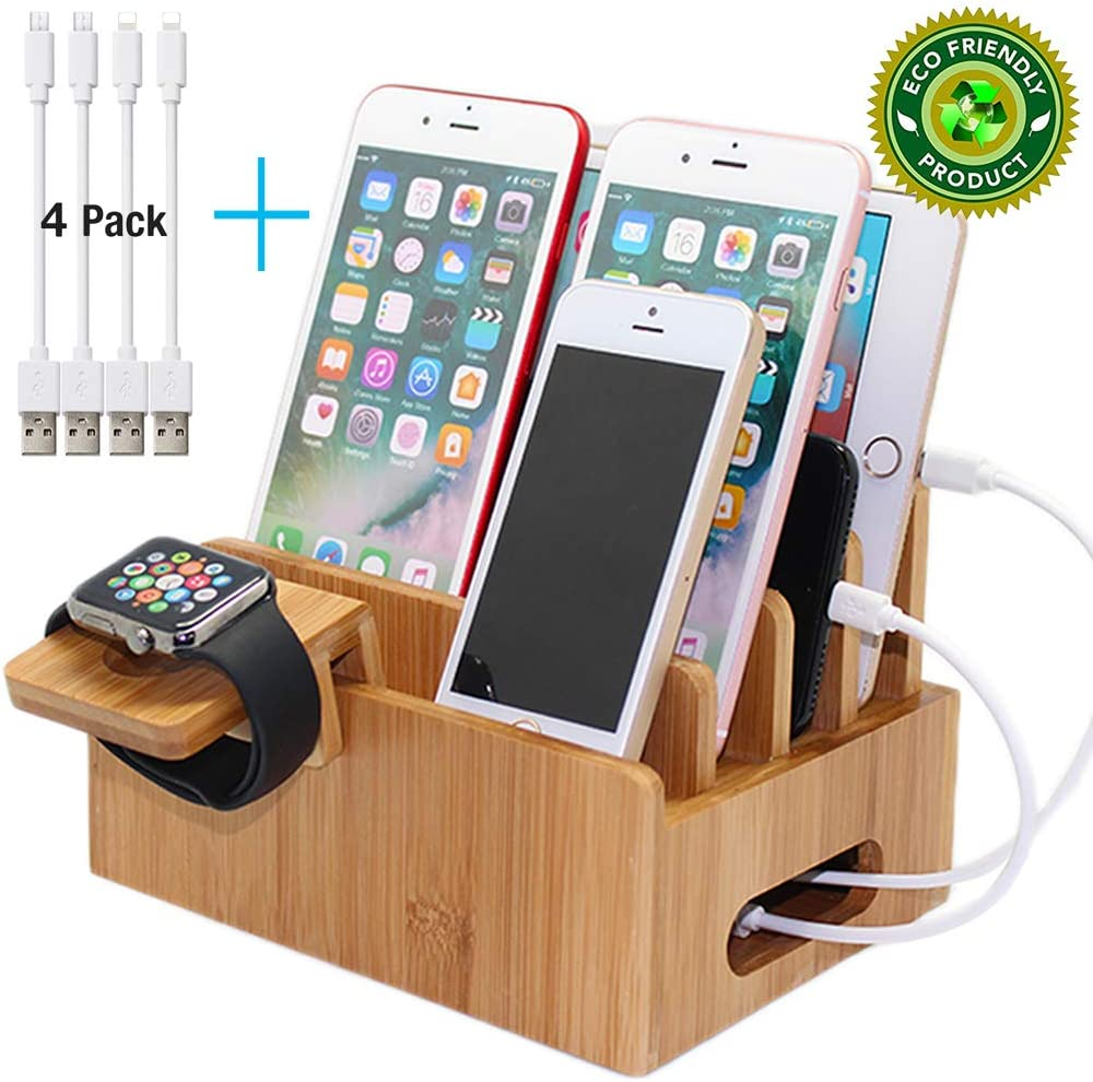 Pezin & Hulin Bamboo Charging Stations for Multiple Devices, Desk Wood Docking Station Organizer for Cell Phone, Tablet, Watch Stand (Includes 4 Cables BUT NO Power Supply Charger)