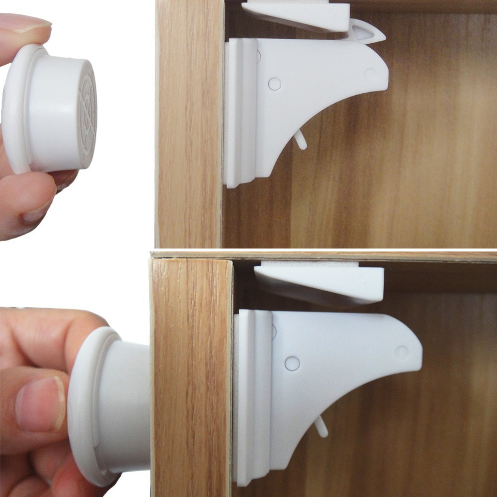 Smart Baby Magnetic Child Safety Locks - Cabinet and Cupboard Locks Help Protect Your Home and Family - Discrete Design, Won't Damage Furniture - Fast and Easy to Install - Includes 2 Keys and 8 Locks