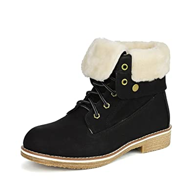 1e0f04b2e39 DREAM PAIRS Women s Montreal Black Faux Fur Ankle Bootie Size 5 B(M) US