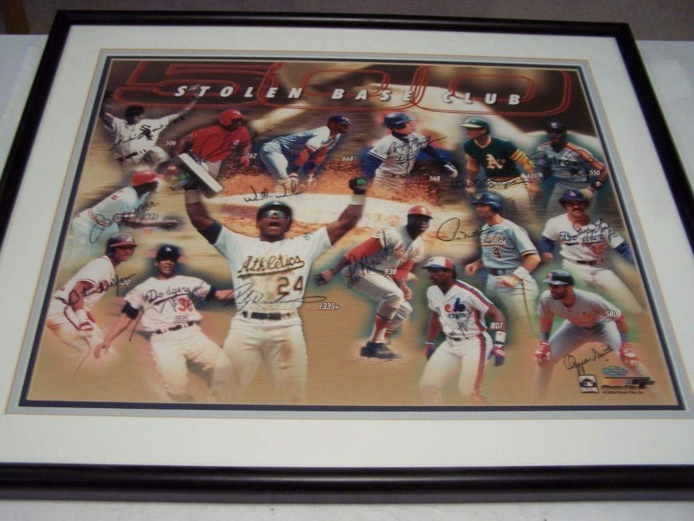 MLB Base Stealing Greats Autographed Signed Autograph Framed In Action Henderson Brock Raines Coleman