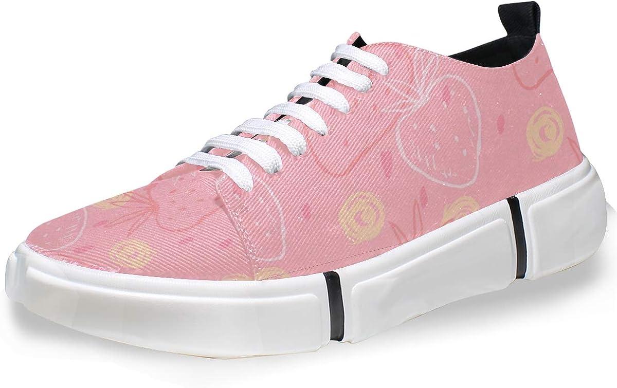 FANTAZIO Zapatillas de Running para Hombre, diseño de Fresas Rosas: Amazon.es: Zapatos y complementos