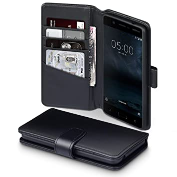 factory authentic 55c41 4679f TERRAPIN, Compatible with Nokia 5 Case, GENUINE LEATHER Wallet Flip Cover -  Black