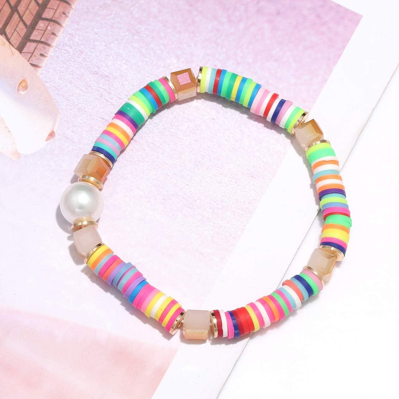 African Vinyl Stretch BraceletBaroque Pearl BraceletColorful Bracelet StackColorful Tassel BraceletVulcanite Disc BeadsPearl Bracelet